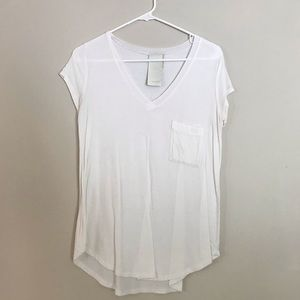 white vneck with pocket